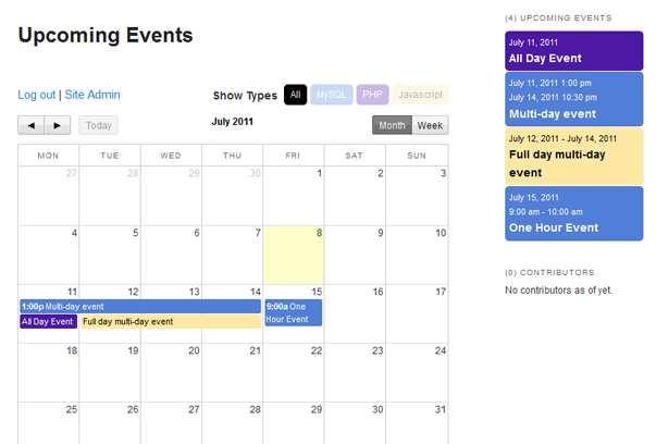 ajax events calendar
