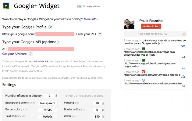 google plus widget
