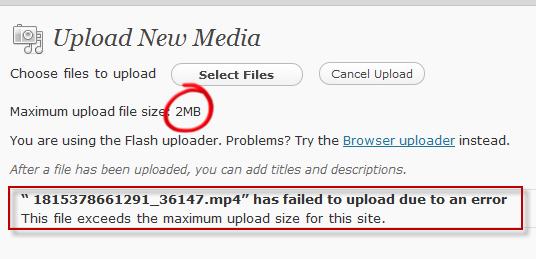 limite de upload