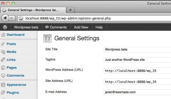 wordpress 3.3 admin menu