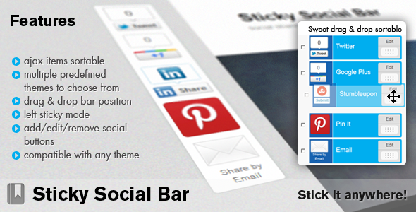 sticky social bar