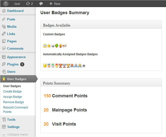 user badges