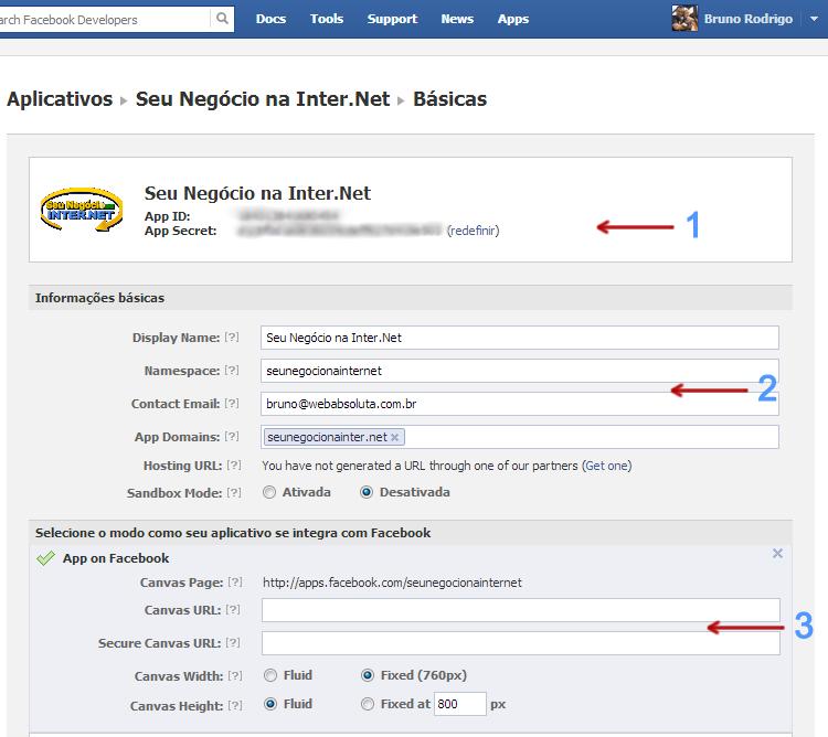 Configurando Aplicativo Facebook
