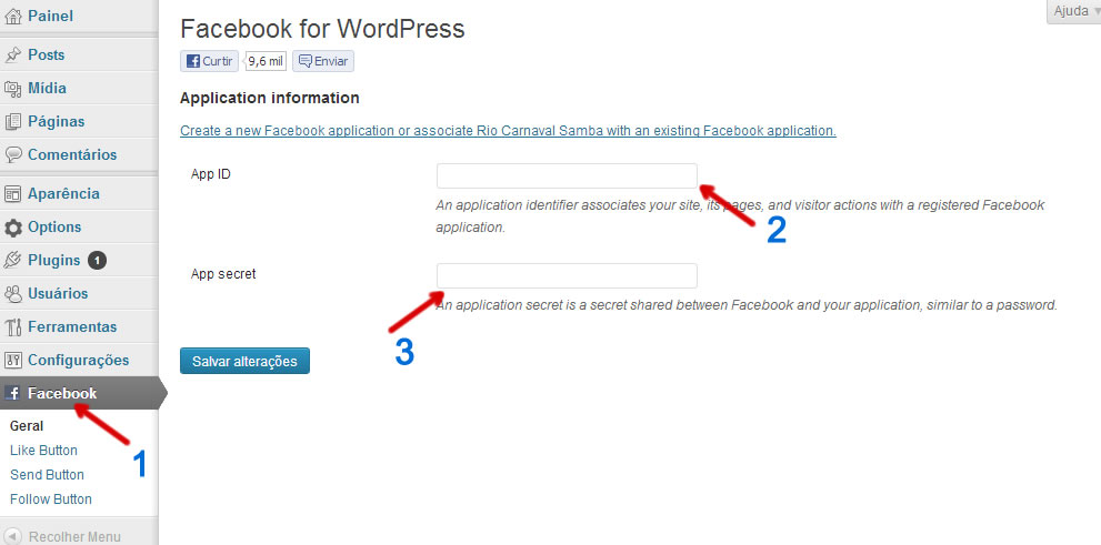 configuracao plugin facebook wordpress