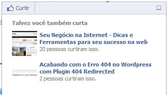 plugin facebook recomendacao