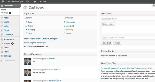 Painel Administração do WordPress