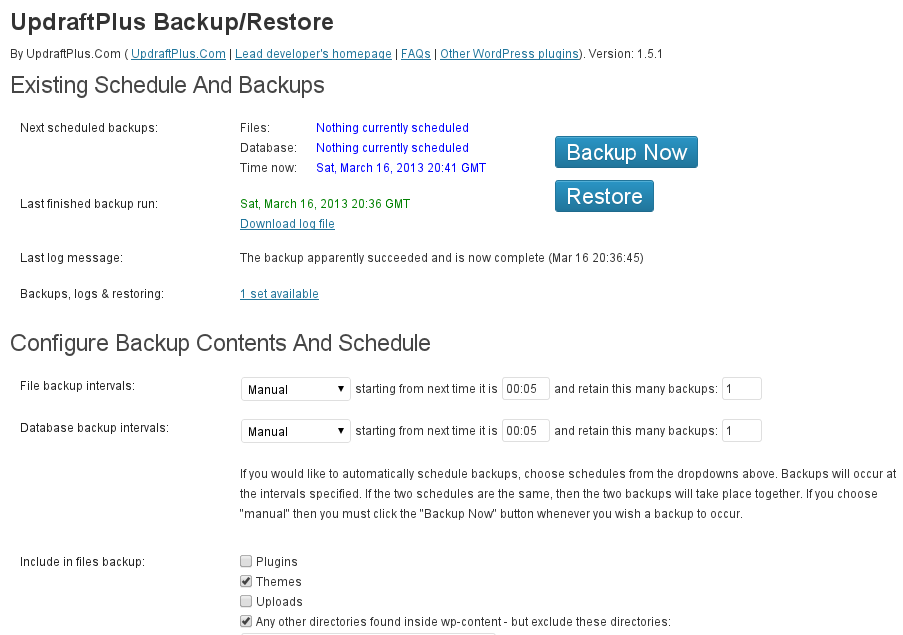 plugin wordpress backup updraft