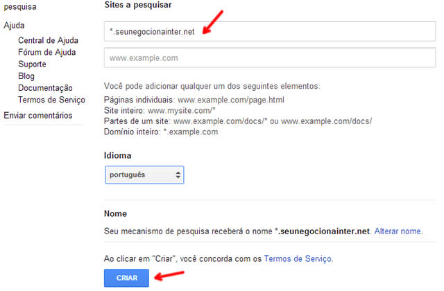 pesquisa google wordpress